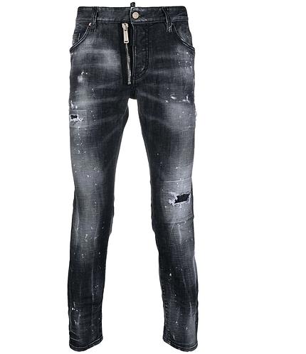 Black Powder Zip Wash Skater Jeans