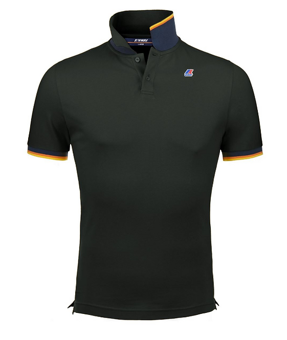 K-WAY VINCENT CONTRAST POLO BLACK PURE K008J50 COL USY