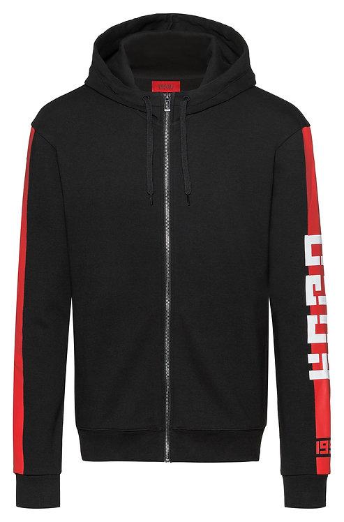 Sweat HUGO à capuche en jersey interlock à rayures latérales contrastantes