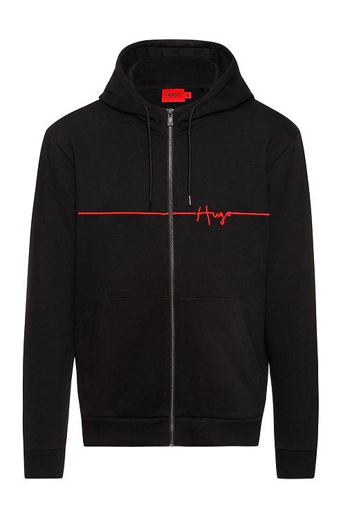 hugo Sweat à capuche zippé en coton biologique avec logo MODÈLE DAMPARI - 50457100 manuscrit brodé