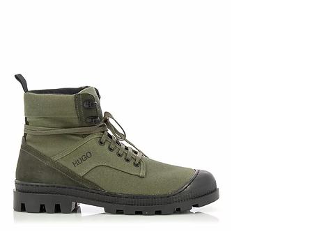chaussures hugo Boots à lacets en cuir suédé et toile de coton MODÈLE BUSTLER_HALB_CVSD - 50458933