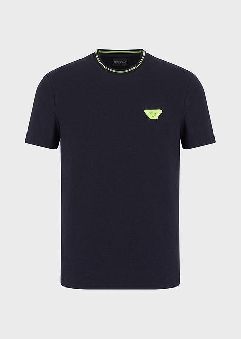 T-shirt emporio armani en jersey stretch avec écusson 3D en caoutchouc 3H1T681J37Z10922