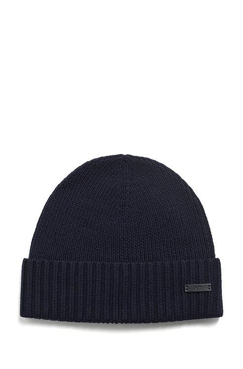 BONNET HUGO BOSS MODÈLE FATI-N - 50455712 Bonnet en laine vierge avec étiquette logo