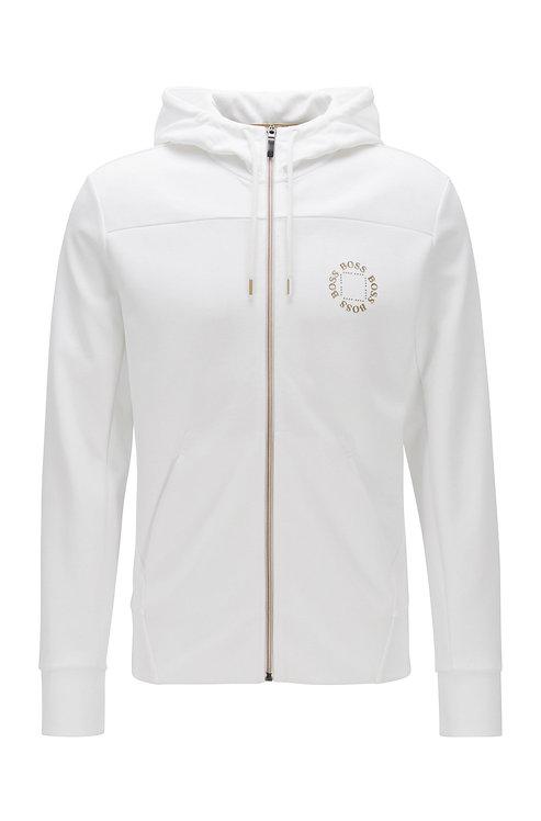 HUGO BOSS Sweat à capuche zippé avec logo métallisé à effet superposé Modèle Saggy Circle - 50423593 112