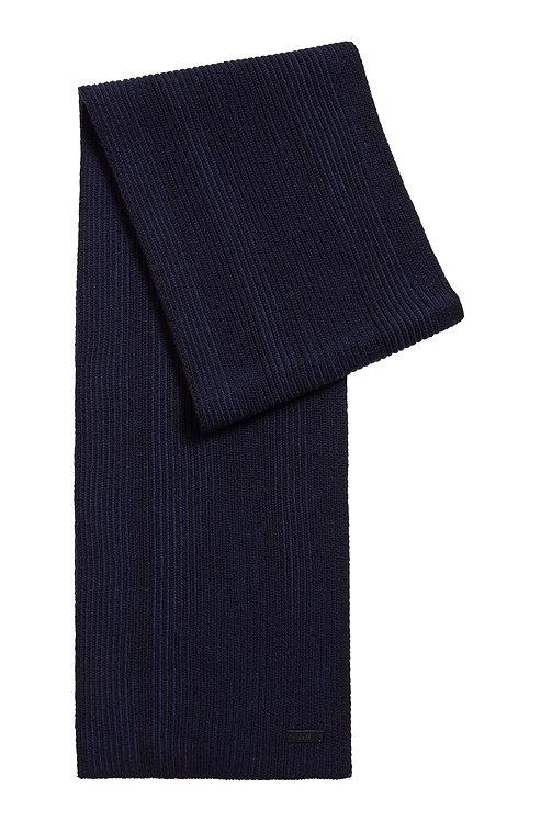 ECHARPE HUGO BOSS MODÈLE NASTRO - 50455694 Écharpe en maille côtelée de laine vierge bicolore