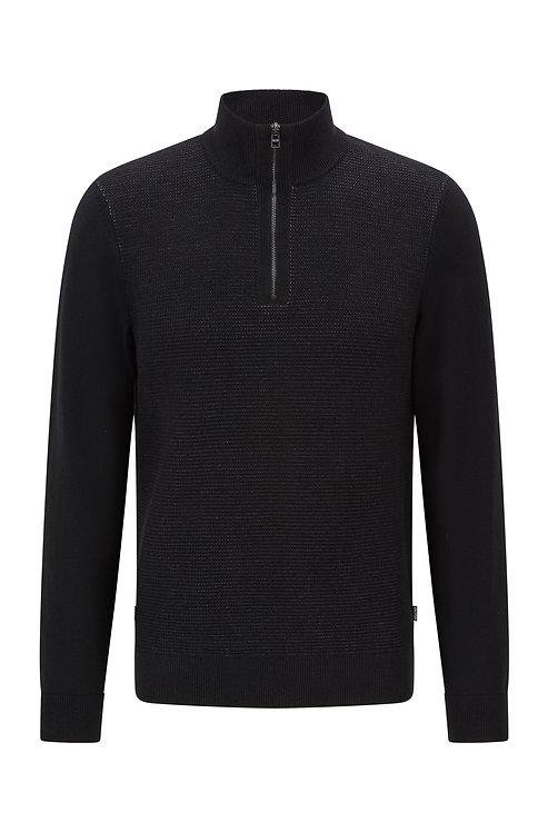 Pull en laine vierge et coton, avec encolure zippée