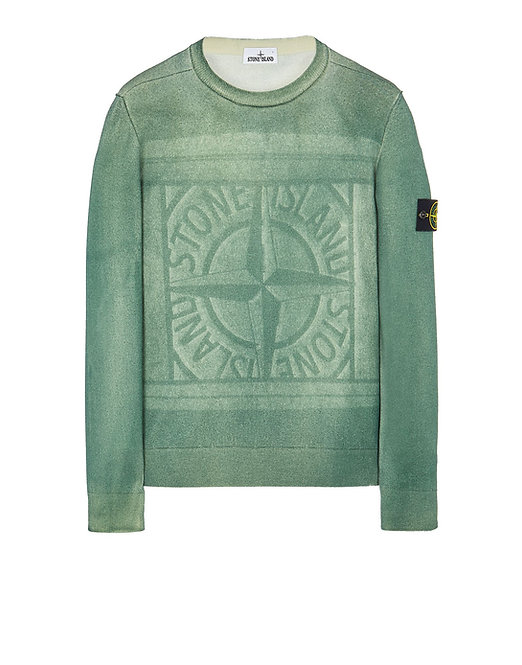 pull stone island 7515570A8 v0055 570A8 PURE WOOL_FAST DYE + HAND MADE AIRBRUSH + LASER PRINT : REVERSIBLE