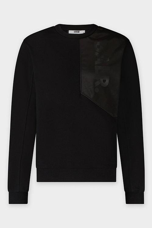 sweat col rond balr noir JULES SLIM SHOULDER PANEL CREWNECK JET BLACK b1262.1013.102