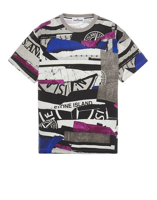 TSHIRT STONE ISLAND 75152NS88 2NS88 COTTON JERSEY 'MIXED MEDIA ALL OVER' PRINT_COUPE AJUSTÉE