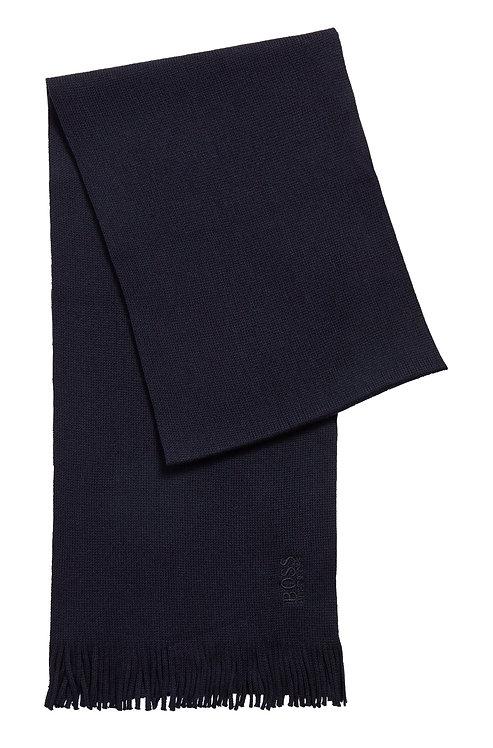 ECHARPE HUGO BOSS MODÈLE ALBAS-N - 50455703 Écharpe en maille de laine vierge à logo ton sur ton