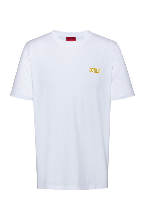 HUGO BOSS T-shirt Regular Fit avec imprimé logo inversé Modèle Durned202 - 50425768 100