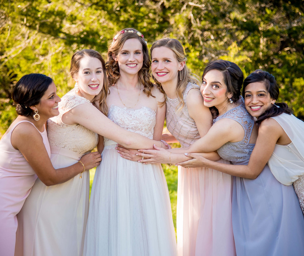 Wimberley Weddings- Hugs from Bridesmaid