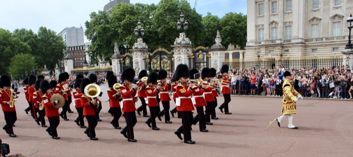 Changing of the Guard at Buckingham Palace. 1st Battalion Welsh Guards Drum Corps