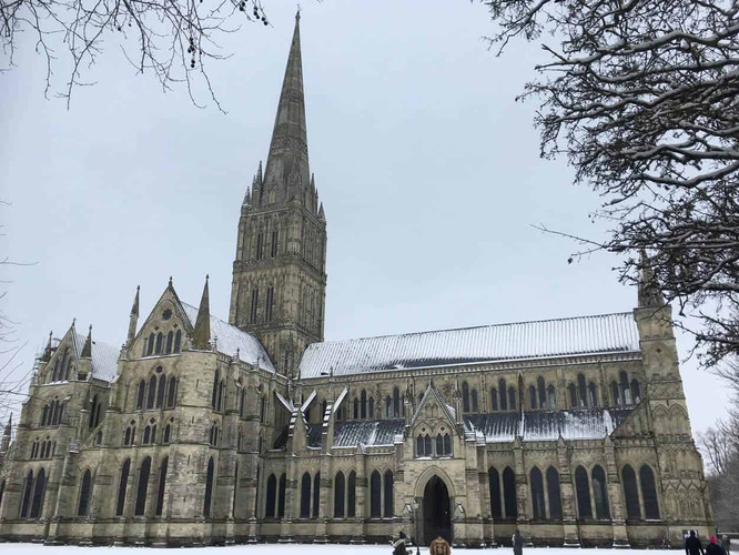 the Spire and cloisters in Salisbury cathedral