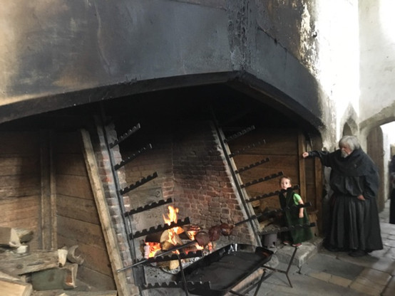 Henry VII's kitchen which served up to 1200 guests, courtiers, and staff each day.