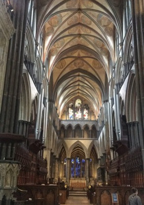 Inside Salisbury cathedral where we can see the Magna Carta