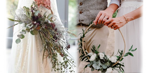 Hoop bouquets can have a lot of flowers (left) or few flowers (right).
