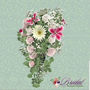 A 3-D model of a cascade-style wedding bouquet against a sage green background. The bouquet contains blush pink and white roses, sage greenery, baby's breath, stargazer lilies, and white gerbera daisies.