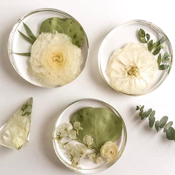 Three coasters sit on a white background. The coasters are clear resin with various white flowers and green leaves embedded in them.