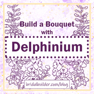 """Build a Bouquet with Delphinium"" title with purple drawings of larkspur flowers in the background."