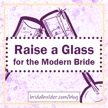 "Title: ""Raise a Glass for the Modern Bride"" in purple with hand-drawn champagne flutes in the background, clinking together. The background has a purple and gold watercolor texture and a solid rectangular gold frame."