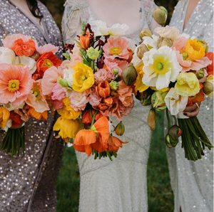 A bride and two bridesmaids hold three bouquets of yellow, orange, pink, and white poppies in front of their dresses.
