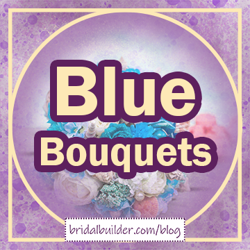 """Title in gold with purple outline: """"Blue Bouquets"""". The background is a purple watercolor texture with a faded photo of a bouquet with white and light blue flowers on top. The graphic has a gold circle-inside-a-square frame."""