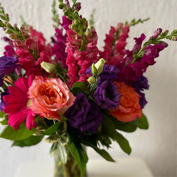 A bouquet of brightly-colored pinks, purples, and peaches sits in a glass vase in front of a white background with lots of greenery framing the collar of the bouquet. The bouquet appears to include hot pink daisies, peach gardenias, hot pink snapdragons, and dark purple lisianthus.