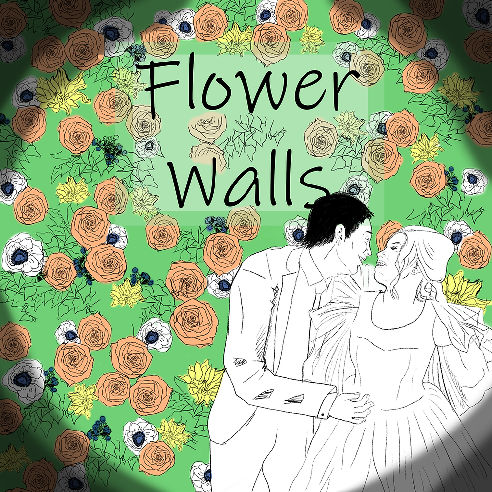 "A drawing of a couple about to kiss in front of a wall of greenery, peach roses, yellow flowers, and anemone, with the title ""Flower Walls."""