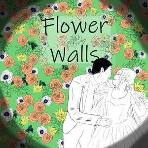 """A drawing of a couple about to kiss in front of a wall of greenery, peach roses, yellow flowers, and anemone, with the title """"Flower Walls."""""""