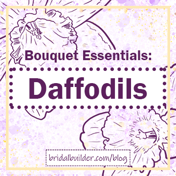 """Bouquet Essentials: Daffodils"" title in dark purple with hand-drawn daffodils in the background and a gold frame."