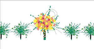 A digital representation of a bridal bouquet and its green min-bouquets on a white background. The bridal bouquet has yellow, pink, white, and red flowers in it.