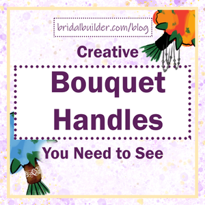 """Title: """"Creative Bouquet Handles You Need to See"""" with two hand drawn bouquets, one with dangling pearls on the handle and one with a burlap and lace handle."""