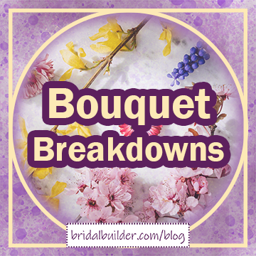 """Title in gold with purple outline: """"Bouquet Breakdowns"""". The background is purple watercolor texture with a photo of various flowers on a white surface faded on top. The graphic has a gold circle-inside-a-square frame around the edges in gold."""