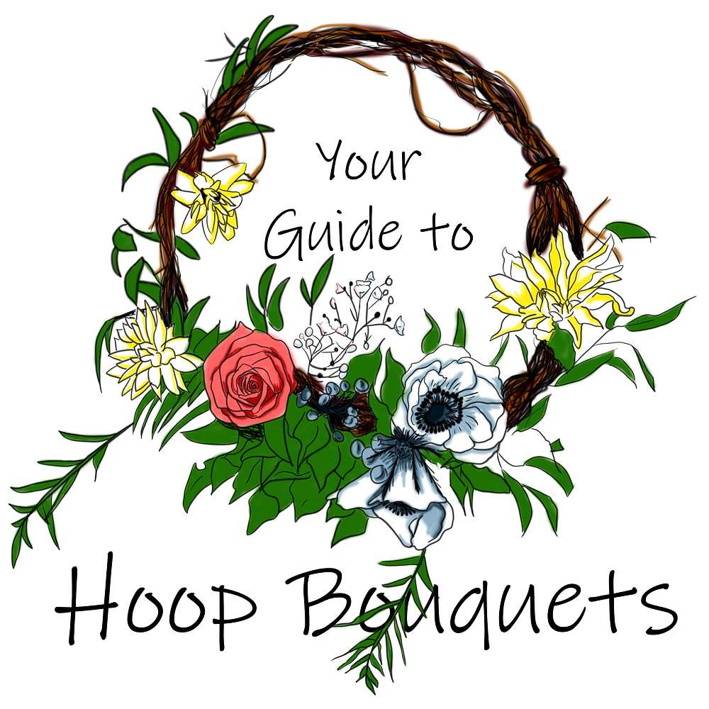 "A handdrawn hoop bouquet with anemone, roses, baby's breath, etc. and letters that say, ""Your Guide to Hoop Bouquets""."