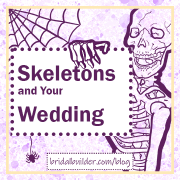 """Title: """"Skeletons at Your Wedding"""" in dark purple with a hand-drawn skeleton and spider web in the background. THe background is purple and gold watercolor texture with a rectangular gold border around the edge of the image."""