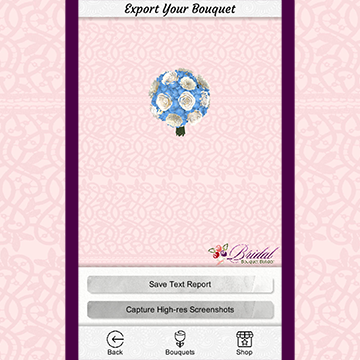 A screenshot of a 3-D round bouquet with a hand-tied handle and white and blue flowers.