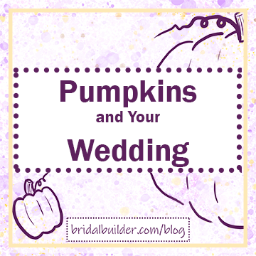 "Title: ""Pumpkins and Your Wedding"" in purple with purple hand-drawn pumpkins in the background. The background includes purple and gold watercolor texture and a gold, rectangular border."