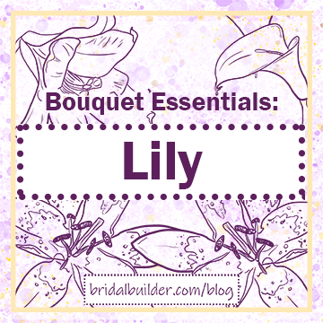 """Title: """"Bouquet Essentials"""" Lily"""" in purple with hand=drawn lilies in the background. Gold border and purple watercolor paper."""