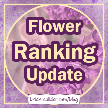 Title in gold with purple outline: Flower Ranking Update. A handful of purple lilac flowers is faded in the background and the graphic has a gold circle-inside-a-square border.
