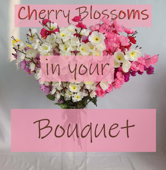 "A purple, pink, and white bouquet of cherry blossoms in a glass vase with a white background and the title ""Cherry Blossoms in your Bouquet"""