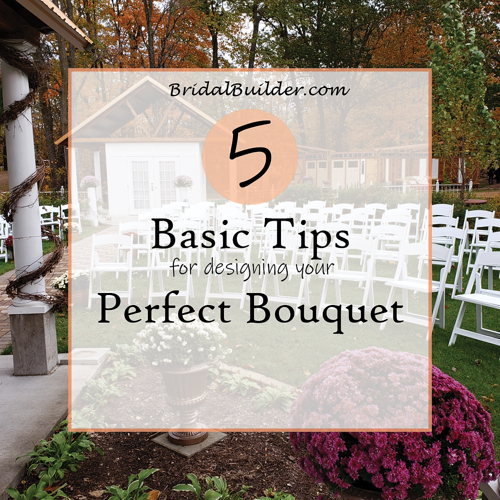 A courtyard with rows of white chairs set up for a wedding. Words on a transparent background. Title: 5 Basic Tips for Designing Your Perfect Bouquet