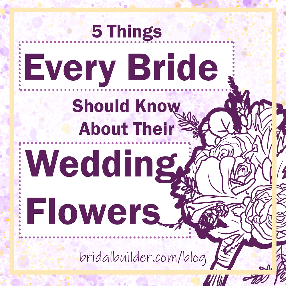 5 things every bride should know about their wedding flowers title with a hand-drawn purple bouquet in the foreground.