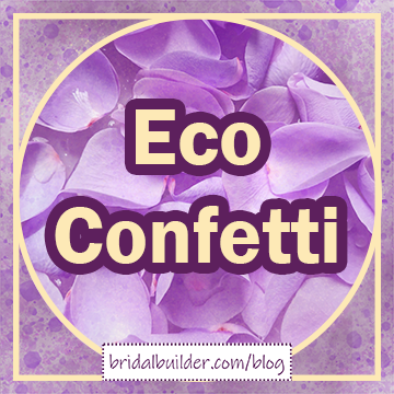 "Title in gold and purple: ""Eco Confetti"" with a faded gathering of rose petals behind, a gold frame of a circle inside a square around the outside, and a background of purple and gold watercolor texture."