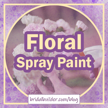 """Title: """"Floral Spray Paint"""" in gold and purple lettering with a faded photo of a bouquet of carnations being sprayed with water in the background."""