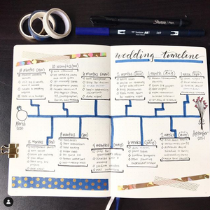 A bullet journal page with a blue-accented wedding timeline.