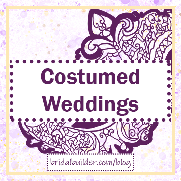 "Title: ""Costumed Weddings"" in purple with a hand-drawn masquerade mask in the background. THe background has purple and gold watercolor and the border is gold."