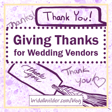 "Title: ""Giving Thanks for Wedding Vendors"" in purple with purple hand-drawn ""Thank you!"" notes in the background. THe background also has a purple and gold watercolor texture and there's a gold border around the edge of the image."