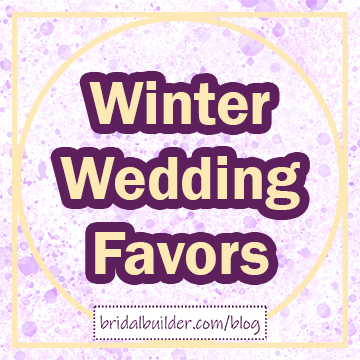 "Title in light gold and purple: ""Winter Wedding Favors"". The background is purple and gold watercolor texture and there is a gold rectangular border around the edge of the graphic."