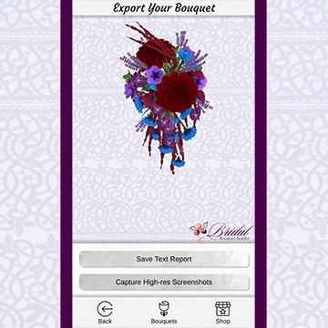 A 3-D cascade bouquet with large red flowers, love lies bleeding, and small blue and purple flowers sits in front of a light lacey texture on a phone screenshot.